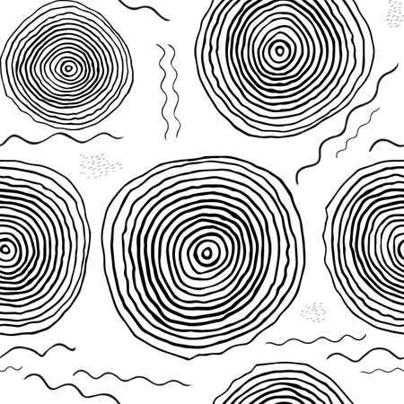 dabs: Black and white hand drawn endless background. Seamless tribal pattern with lines and circles. Monochrome organic doodle design for textile, wallpaper, wrapping paper, web Illustration