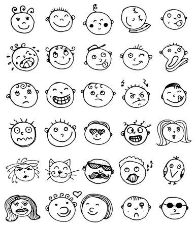Set of thirty hand drawn vector emoticons. Collection of sketched smileys with a different facial expression and emotion isolated on white