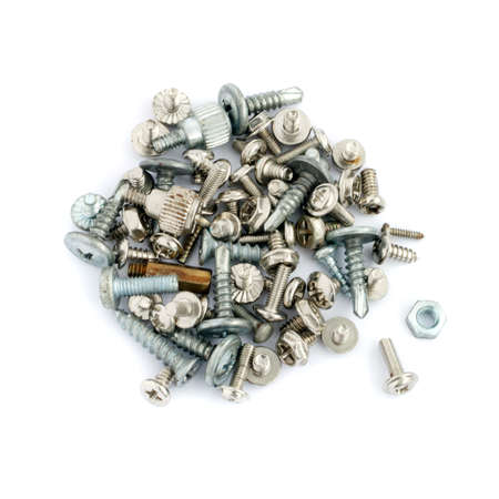bolts and nuts: New And Old Different Screws And Bolts Isolated On White Background