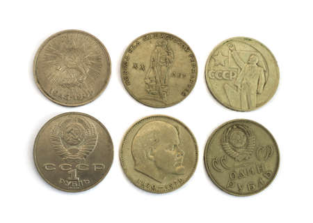 totalitarian: Old Soviet Union expired money with Lenins profile. USSR ruble coins isolated on white background