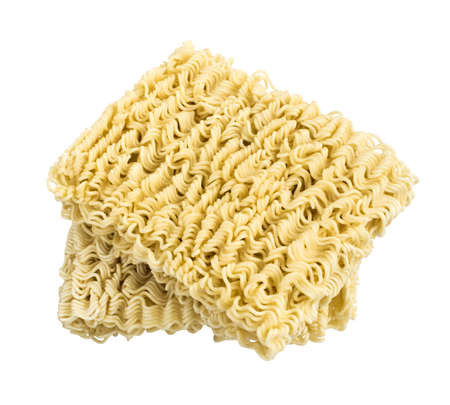 Instant noodles close up isolated on white background. Oriental unhealthy tasty fastfood. 免版税图像
