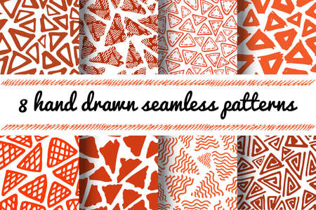 delta: Hand Drawn Seamless Triangle Pattern In Retro Style. Terracotta Colors Delta Background Set Illustration