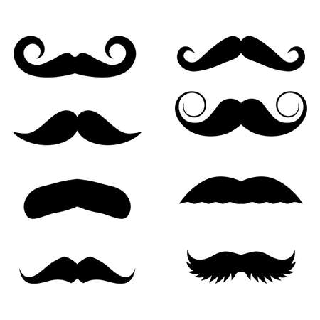 Big set of vector hipster mustache. Collection of cartoon barber silhouette hairstyle . Various types of whiskers Illustration