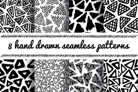delta: Hand Drawn Seamless Triangle Pattern In Retro Style. Black And White Delta Background Set