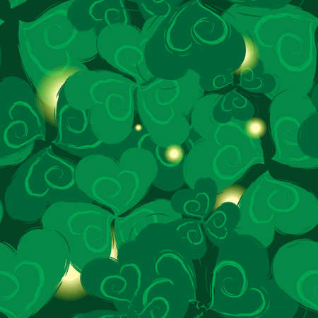 three leafed: Shamrock  Seamless Pattern for St. Patrick Day. Trefoil Green Background