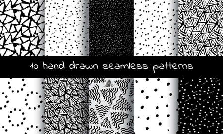 squiggle: Hand Drawn Seamless Triangle Pattern With Ink Doodles. Black And White  Delta Background Set. Trigon Squiggle Texture Organic Geometric Design Illustration