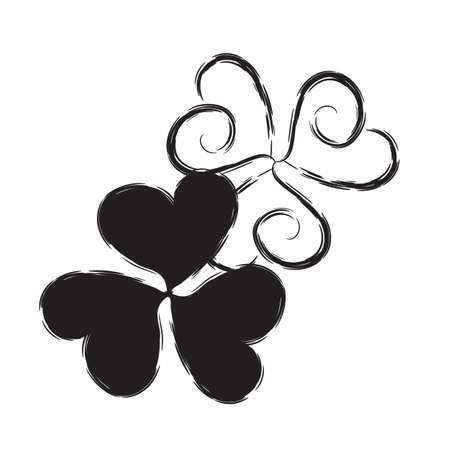 three leafed: Shamrock  Icon for St. Patrick Day. Trefoil Illustration Isolated on White Background Illustration