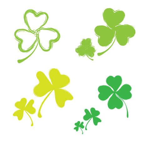 three leafed: Set of Shamrock  Icons for St. Patrick Day. Green Trefoil Illustration Isolated on White Background Illustration