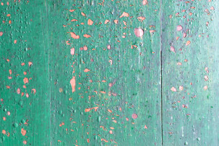 Grunge Background with Old Wooden Painted Green Wall. Bubbles and Cracks Shabby Texture