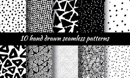 squiggle: Hand Drawn Pattern With Ink Doodles. Black And White Delta Background Set. Trigon Squiggle Texture Organic Geometric Design Illustration