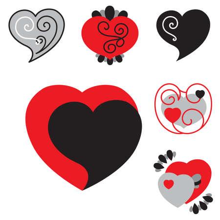 conjunto de diferentes iconos de corazón en línea para el día de san valentín