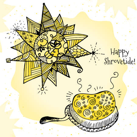 Happy Shrovetide Hand Drawn Illustration with Stylized Sun and Pancakes Illustration