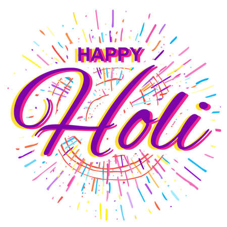 pichkari: Greeting Card for Happy Holi Spring Festival with Sample Text. llustration of Colorful Gulaal or Powder Color Illustration