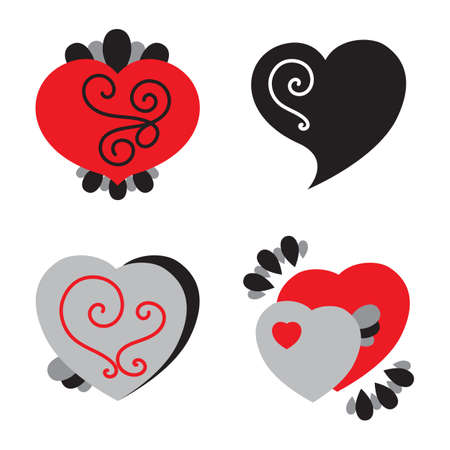 Set of Different Shaped Heart Icons for Valentines Day Illustration