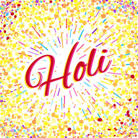 Greeting Card for Happy Holi Spring Festival with Sample Text. llustration of Colorful Gulaal or Powder Color Illustration