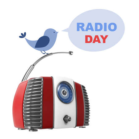 fm: World Radio Day Illustration with 3D and Flat Elements on White Background Stock Photo