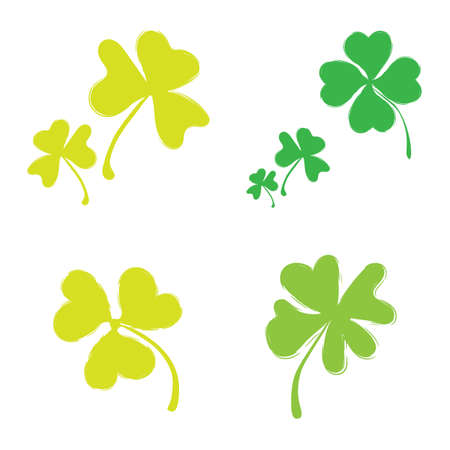 three leafed: Set of Shamrock Icons for St. Patrick Day. Green Trefoil Illustration Isolated on White Background