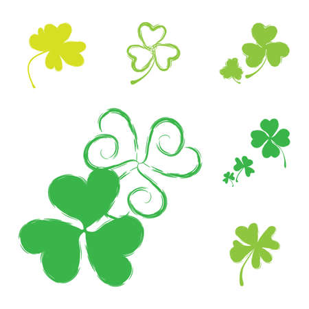 Set of Shamrock Icons for St. Patrick Day. Green Trefoil Illustration Isolated on White Background