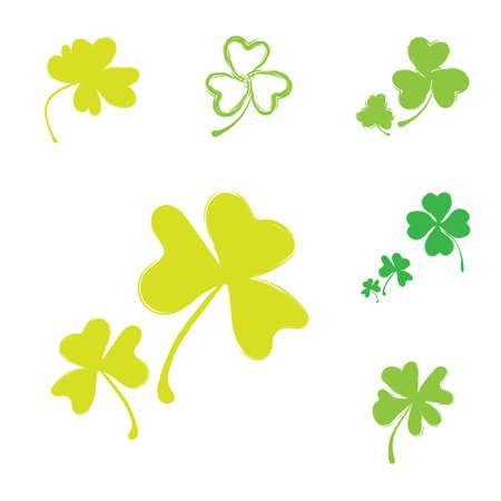 Set of Shamrock Icons for St. Patrick Day. Green Trefoil Illustration Isolated on White Background