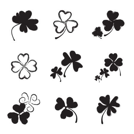 three leafed: Set of Shamrock Icon for St. Patrick Day. Trefoil Illustration Isolated on White Background