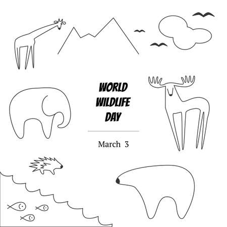 porcupine: Black and White Illustration of World Wildlife Day with Animals. Elephant, Deer, Polar Bear, Porcupine, Giraffe, Fish, Birds