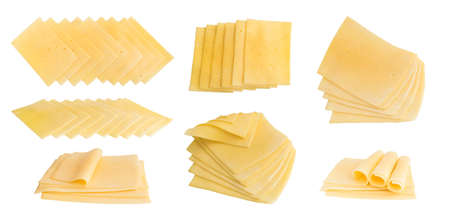 Set of Sliced Gouda Cheese Isolated on White Background Top View