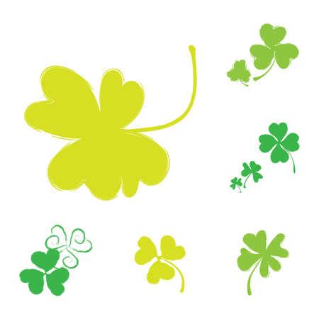 Set of Shamrock Vector Icons for St. Patrick Day. Green Trefoil Illustration Isolated on White Background