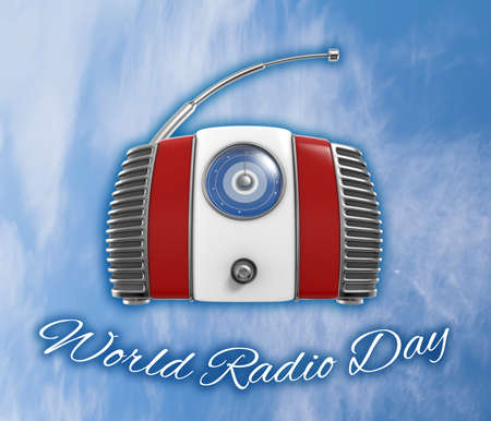 fm: World Radio Day 3D Illustration on Blue Sky Background Stock Photo