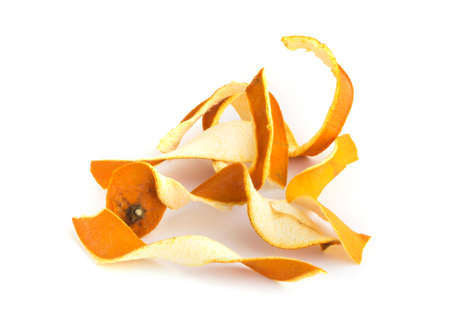 Dry Orange Peel Isolated on White Background. Zest Photographed with Natural Light Top View