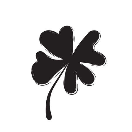 leafed: Shamrock Vector Icon for St. Patrick Day. Trefoil Illustration Isolated on White Background