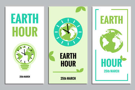 earth map: Vector Template of Earth Hour or Daylight Saving Time with World Map, Lamp and Clocks