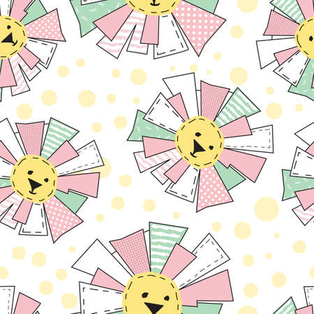 Funny Sun in Patchwork Style Seamless Pattern or Background