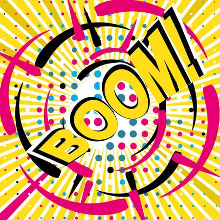 BOOM Comic speech bubble cartoon, vector illustration
