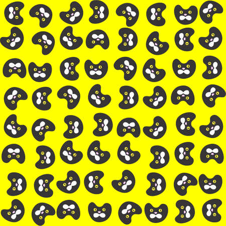 Pattern With Black Cat on Yellow Background