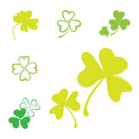 leafed: Set of Shamrock Vector Icons for St. Patrick Day. Green Trefoil Illustration Isolated on White Background