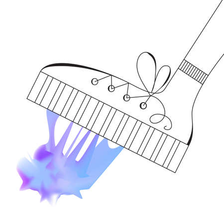 Shoe Steps into Blue Mesh Chewing Gum. Vector Sketch on White Background Illustration