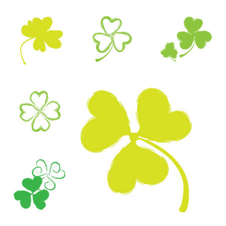 three leafed: Set of Shamrock Vector Icons for St. Patrick Day. Green Trefoil Illustration Isolated on White Background