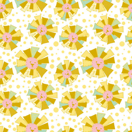 Funny Sun in Patchwork Style Seamless Pattern or Background Illustration