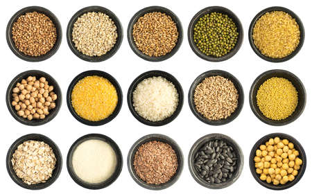 mung: Cereals and Seeds Collection Isolated on White Background