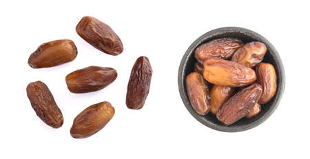 Dried Dates in Round Bowl Isolated on White Background Top View. Fruits of Date Palm or Phoenix Dactylifera with a Clipping Path