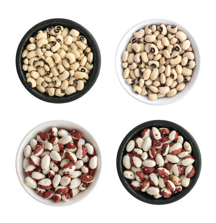 pinto bean: Dry White and Pinto Beans in Round Bowls Isolated. Multicolored Legumes Top View