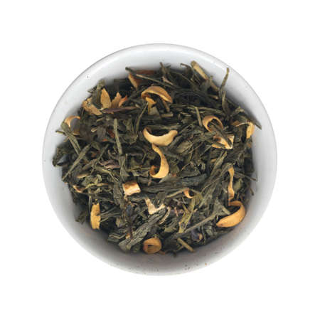 Heap of Dry Green Tea with Additives. Fragrant Beverage and Orange Peel and Flower Petals