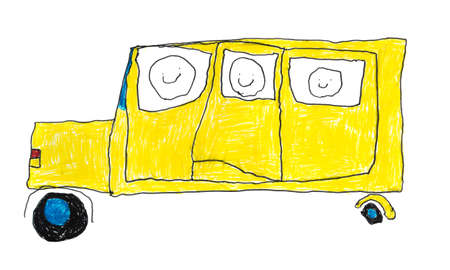 yellow schoolbus: Childrens Drawing of a Yellow School Bus on a White Background