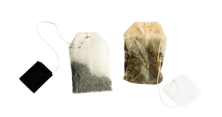 New and Used Tea Bag with Black Labels Isolated on White Background Stok Fotoğraf