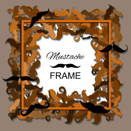 hair mask: Hipster Mustache Frame. Border of Various Types of Whiskers