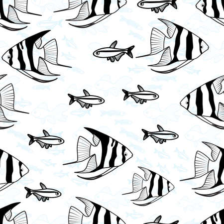 fish form: Pattern with Fish Silhouettes Endless Backdrop Illustration