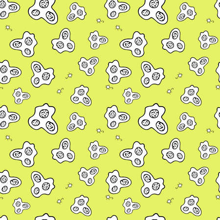 bacteria cell: Vector Doodle Bacteria Germs or Cartoon Monsters Seamless Pattern.