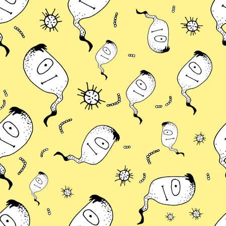Vector Doodle Bacteria Germs o Cartoon Monsters Pattern. Ilustración de vector
