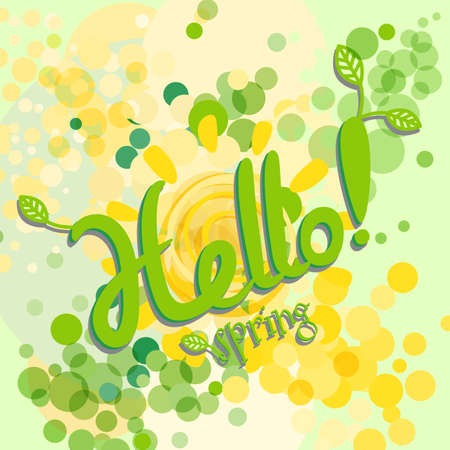 Hello Spring Greeting Card Poster with Shining Suns and Green Leaves. Welcoming the Springtime Vector Illustration Illustration