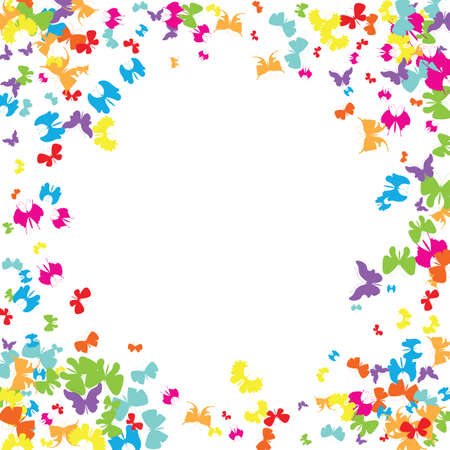 Summer Colorful Butterflies Pattern. Beautiful Insects Background. Vector Illustration